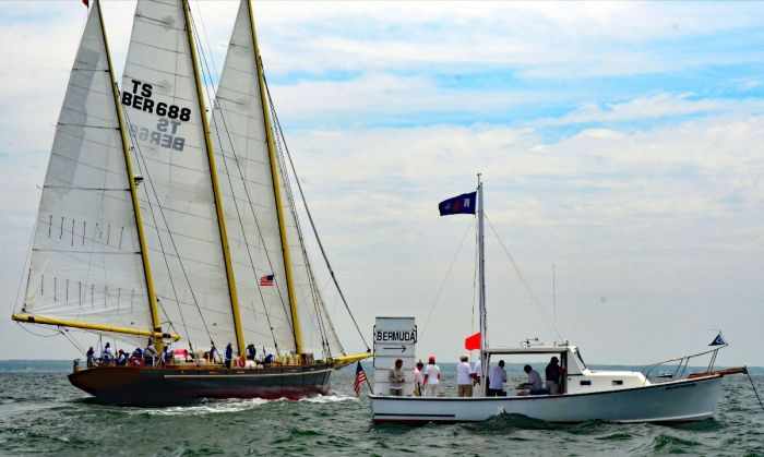 The first start features the Classic Yacht Division. That's a match between Tabor Academy's schooner Tabor Boy and the Bermuda Sloop Spirit of Bermuda. Spirit last sailed Marion Bermuda in 2015 [pictured here]. Photo by Talbot Wilson