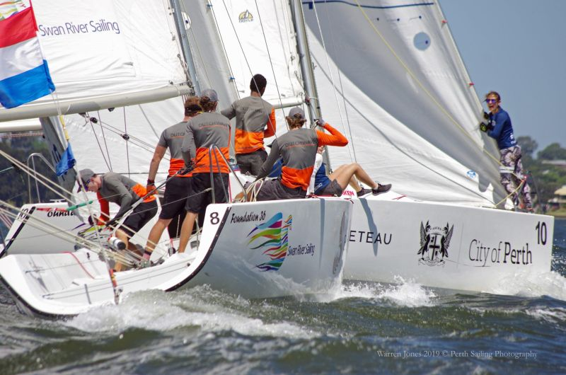 Close in the pre-start at the Warren Jones Regatta 2019. Photography by Rick Steuart from Perth Sailing Photography