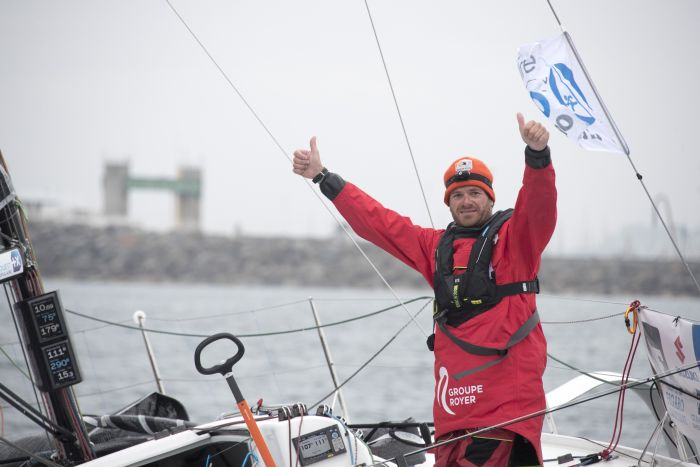 Anthony Marchand (Groupe Royer-Secours Populaire) winner of the third leg of La Solitaire Urgo Le Figaro 2019. Photo © COURCOUX Alexis.