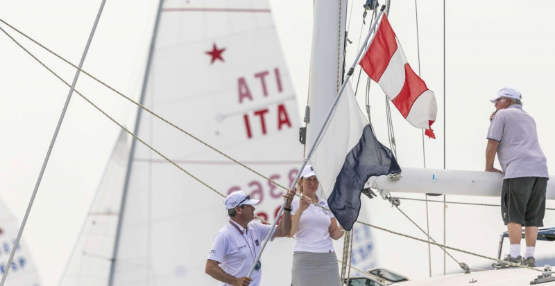 The Race Committee hoists the AP over Alpha flags - Star World Championship 2019. Photo credit: YCCS/Studio Borlenghi.