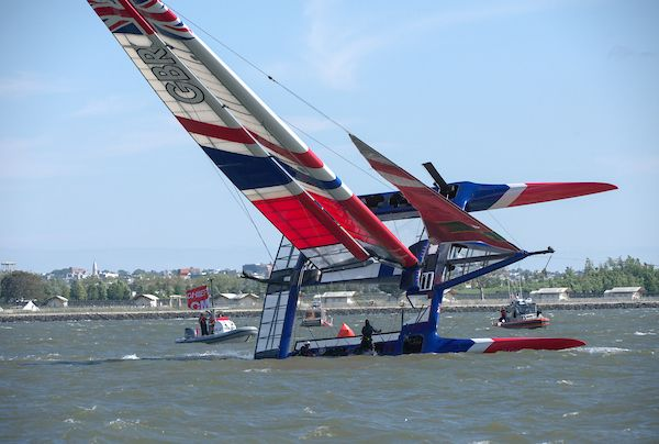 Great Britain capsize during warm-up at SailGP New York. Photo Chris Cameron for SailGP.