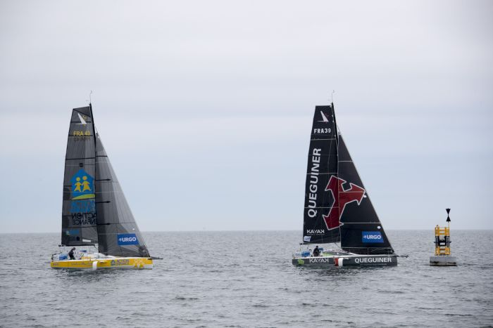 Les Figaros lors de la 4eme etape de la Solitaire Urgo Le Figaro 2019 entre Roscoff et Dieppe - en mer le 25/06/2019.