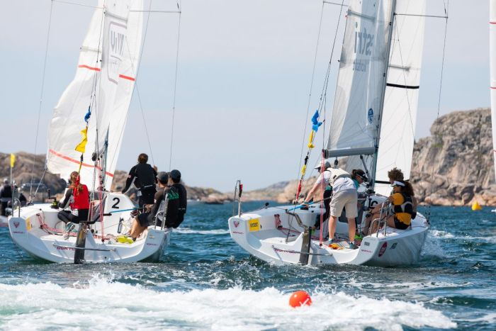 Nicolai Sehested and his Gringo Sailing Team won all their matches but one on day two of Midsummer Match Cup. On the left is Chris Poole (USA) and Riptide Racing. Credit: Joachim Bråse.