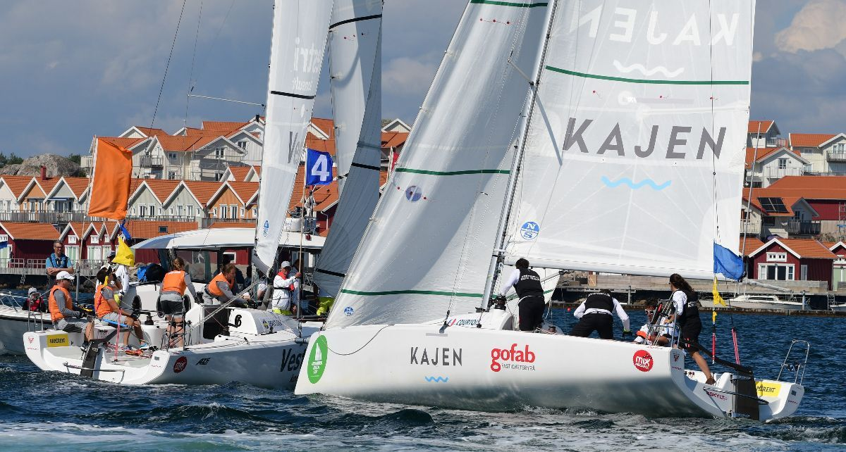 Home town favorites Berntsson Sailing Team against Pauline Courtois in the Round Robin of Midsummer Match Cup 2019. Credit: Tommy Nielsen