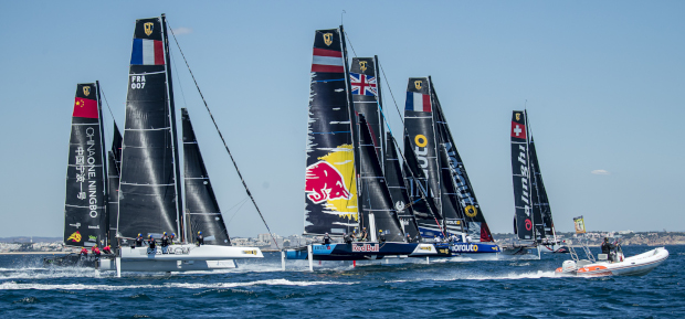 High octane reaching starts  (above) were a feature of today's opening two races. Photos; Sailing Energy / GC32 Racing Tour.