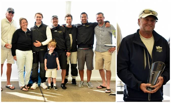 Left: The team of Modern Division winner Challenge XII (KA-10) at the Newport Trophy Regatta Prizegiving at Ida Lewis Yacht Club. Right: Brad Read
