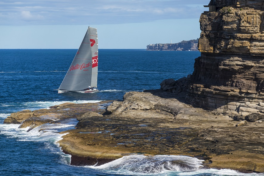Wild Oats XI first out through the heads. Photo Andrea Francolini/CYCA.