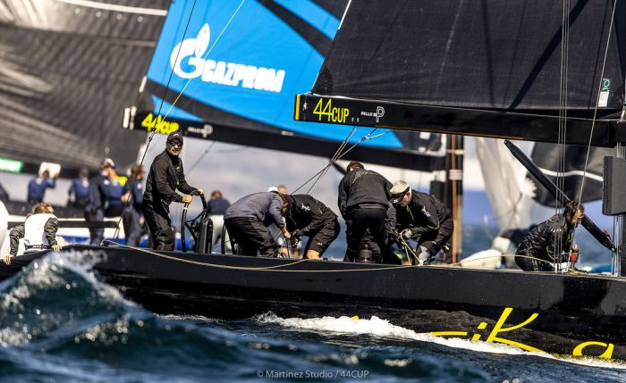 Team Nika made up for a poor day by leading the 44Cup fleet back into Marstrand Harbour at the end of the final race. Photo Marinez Studios.