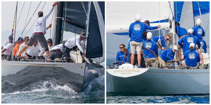 From left: Challenge XII (KA-10) and Columbia (US-16) at the 12 Metre Worlds on Day Two. (Photo Credit: Ian Roman)