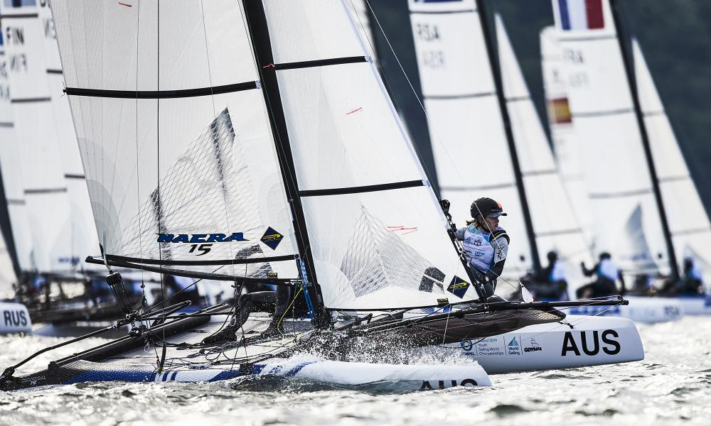 Will Cooley and Rebecca Hancock lead the Nacra 15 at the Youth Worlds. Photo World Sailing/Sailing Energy.