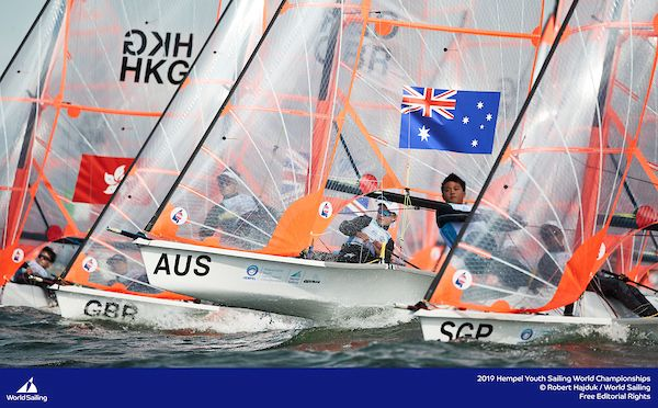 Archie Cropley and Max Paul (AUS) get away well in the 29er. Photo Robert Hajduk/World Sailing.