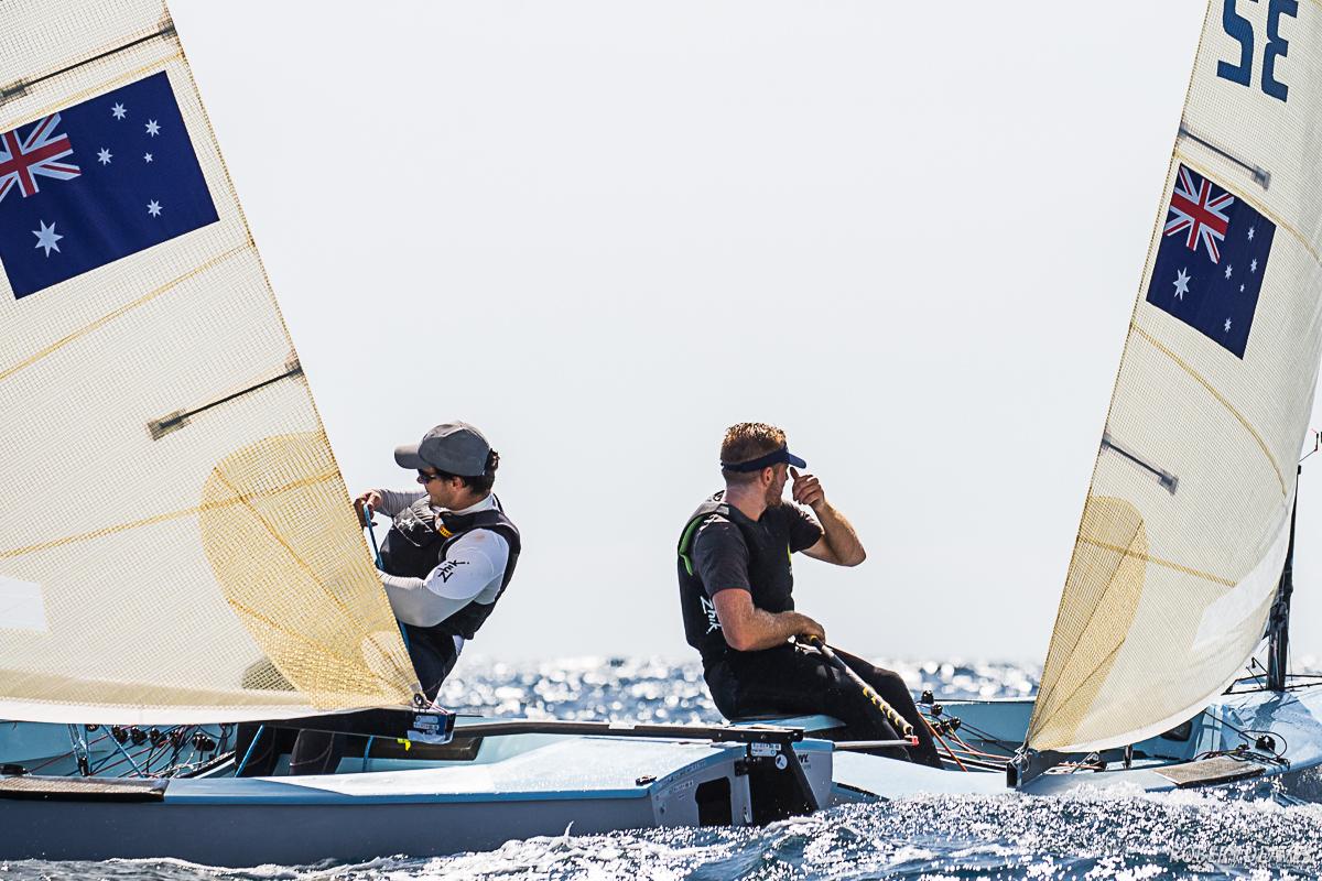 Lachy Gilham and Jock Calvert  at the Finn Silver Cup 2019. Photo Robert Deaves.