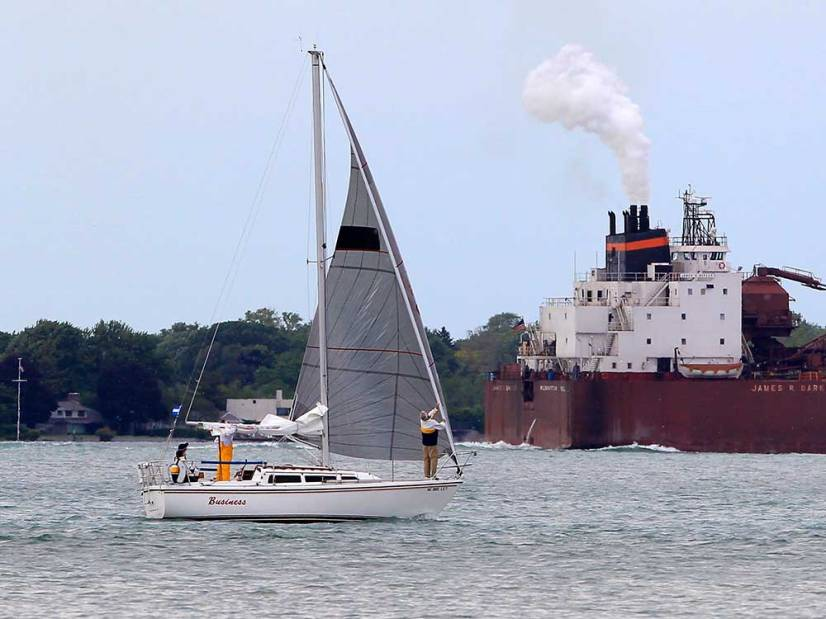 A sailboat is prepared to participate in the 47th Canadian Club International Yacht Race in Lake St. Clair on June 14