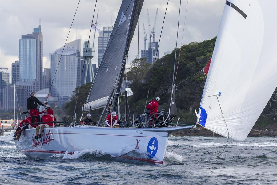 Wild Oats X on her way to taking line honours in the 2019 Noakes Sydney Gold Coast Yacht Race. Credit - Andrea Francolini