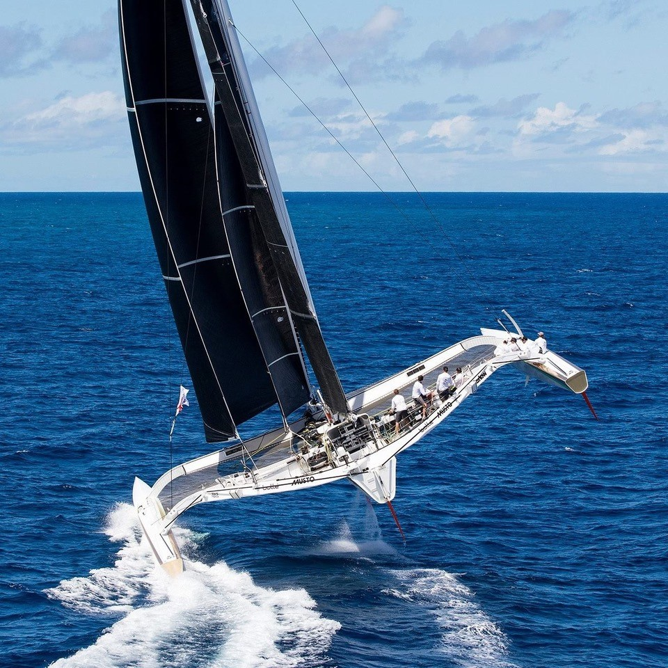 Beau Geste flying two hulls. Photo courtesy of Gavin Brady/Beau Geste.