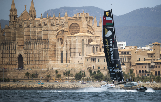 Alinghi and Oman Air are tied after day one of GC32 Racing Tour competition at Copa del Rey MAPFRE. Photo: Sailing Energy / GC32 Racing Tour.