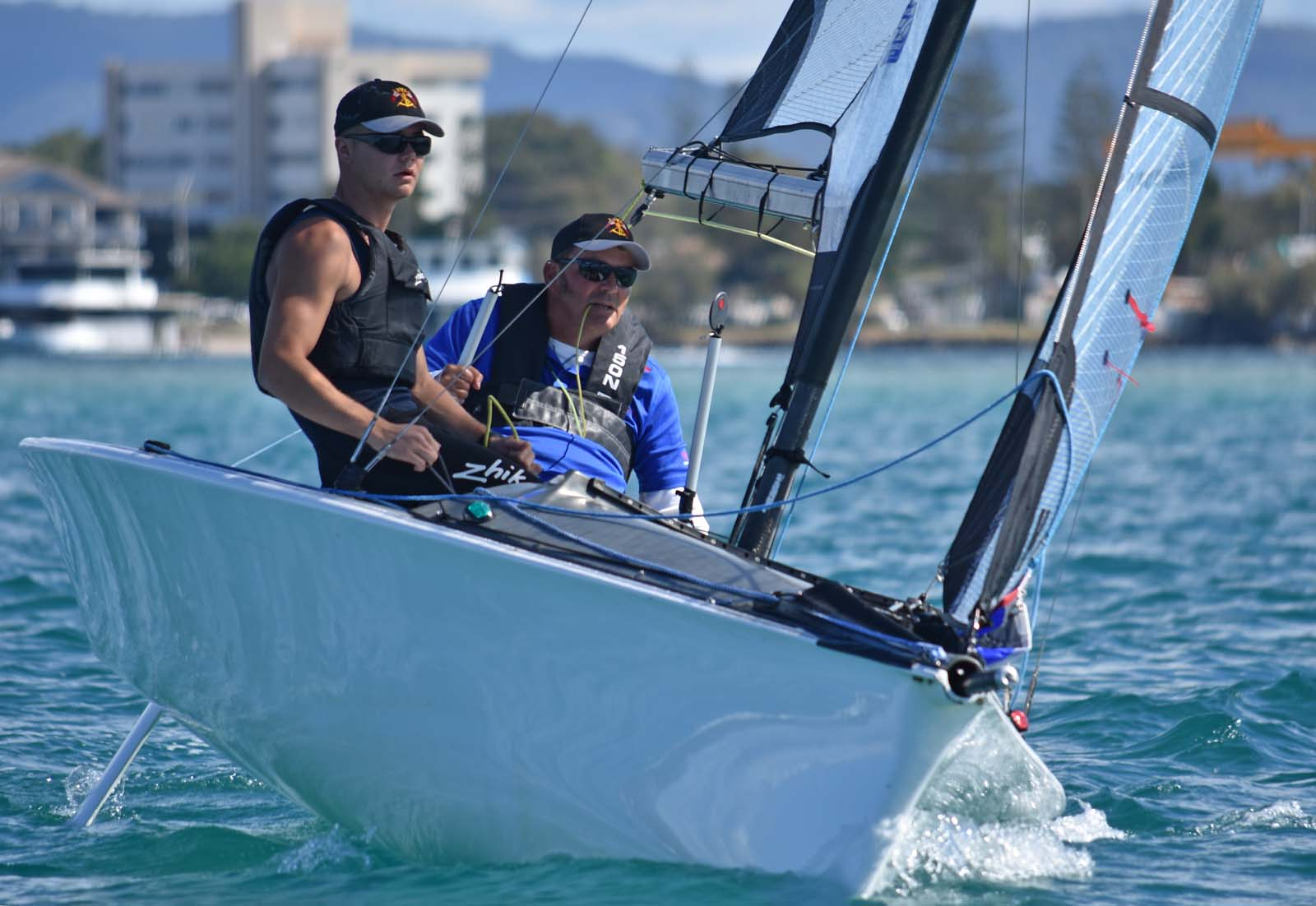 Ross Manning & Max Quan have backed up their 2018 Australian Para Sailing Championship in the SKUD 18. Photo David Staley.