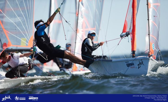 Cropley and Paul at the 29er Worlds 2019.