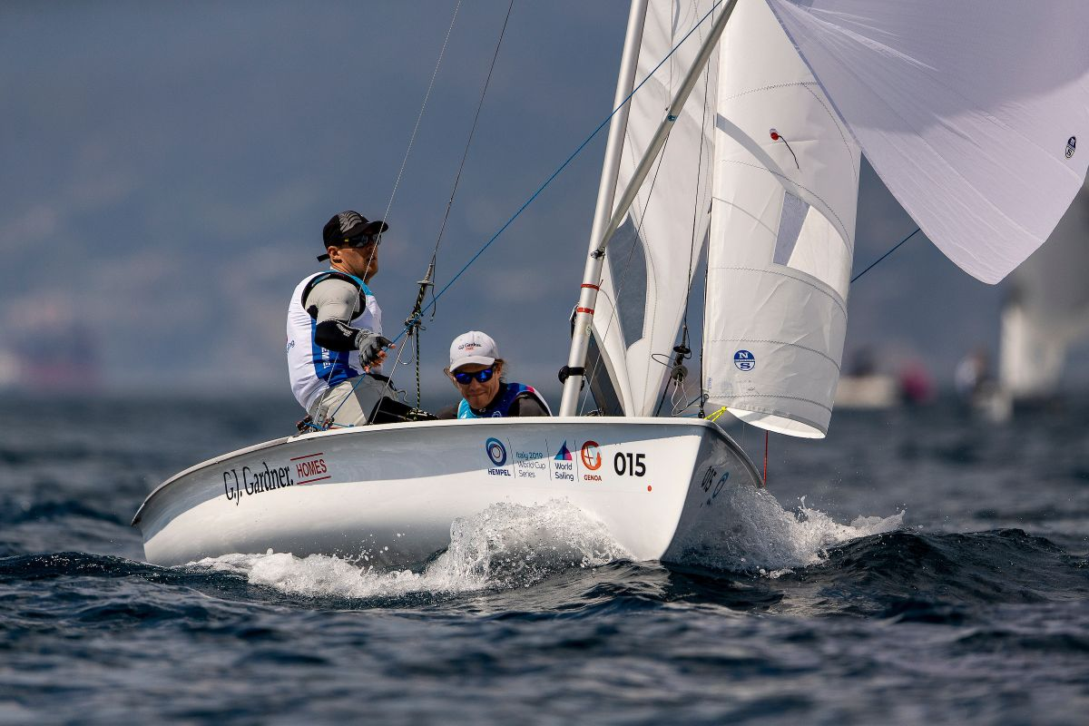 Paul Snow-Hansen and Dan Willcox won their second race of the day at the 470 world championships. Photo: Sailing Energy / World Sailing.