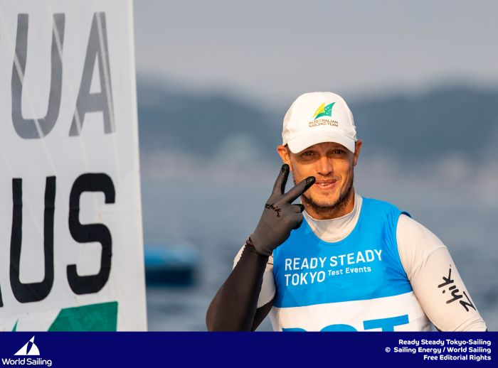 Tom Burton takes silver in the Laser at Enoshima. Photo Sailing Energy/World Sailing.