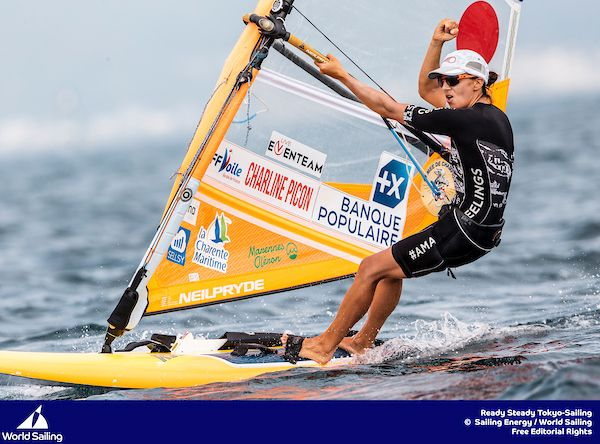 Charline Picon (FRA) without lifejacket at Tokyo test event. Photo World Sailing/Sailing Energy.