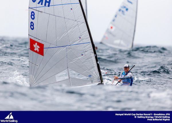 James Dagg (HKG) in big waves at Enoshima. Image © Pedro Martinez / Sailing Energy / World Sailing.