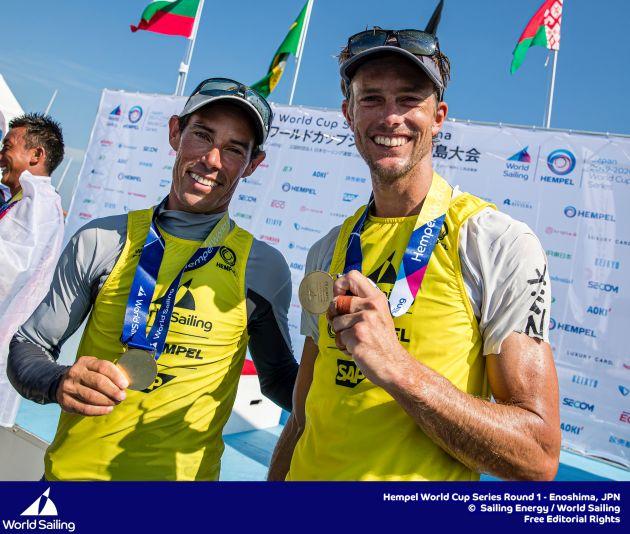 Belcher and Ryan (470) celebrate gold at Enoshima World Cup 2019. Photo Sailing Energy/World Sailing.