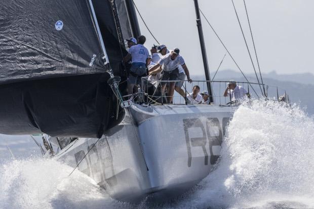 Sail change at high speed on board Rambler 88. Photo: Studio Borlenghi / International Maxi Association.