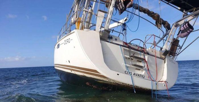 The stricken yacht run aground in the Abrolhos Islands