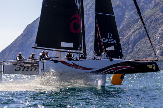 GC32 World Champions Alinghi lead after day one of the GC32 Riva Cup. Photo: Sailing Energy / GC32 Racing Tour
