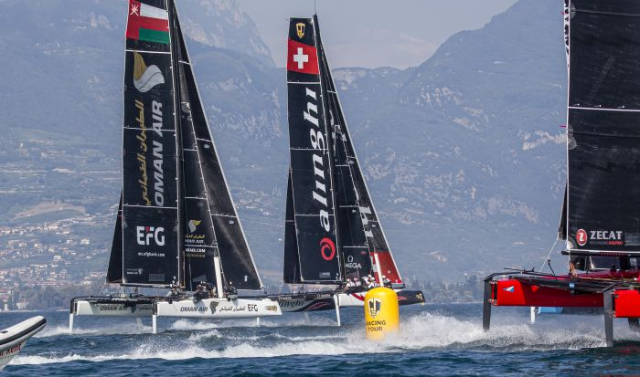 Alinghi versus Oman Air was the entire theme of the final day of the GC32 Riva Cup. Photo: Sailing Energy / GC32 Racing Tour