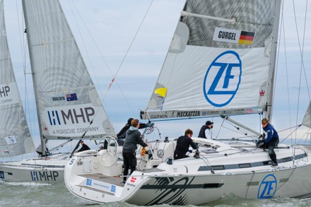 Will Boulden's Alpha Racing Team (Australia) and Max Gurgel's Team VmaxYachting (Hamburg). Match Race Germany / Andy Heinrich.