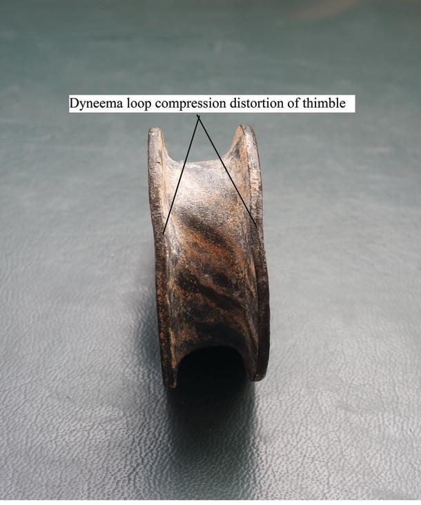 Dyneema loop compression marks on the standard galvanised thimble.