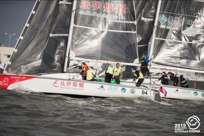 Tense prestart action between the Russian Seven Feet Team (near boat) and the French Match in Pink by Normandy Elite Team (far boat). Photo by: CIWMR Media