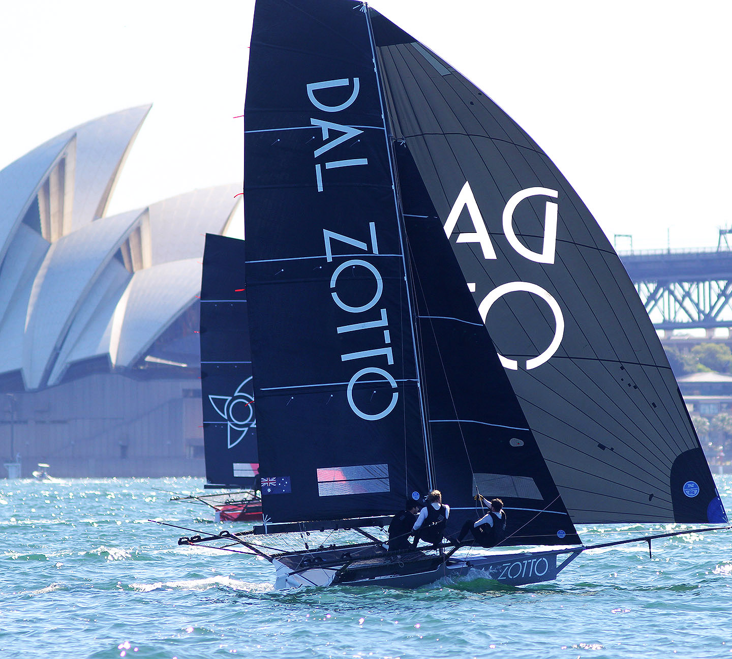 Dal Zotto challenging Noakesailing for the lead last Sunday - Frank Quealey pic