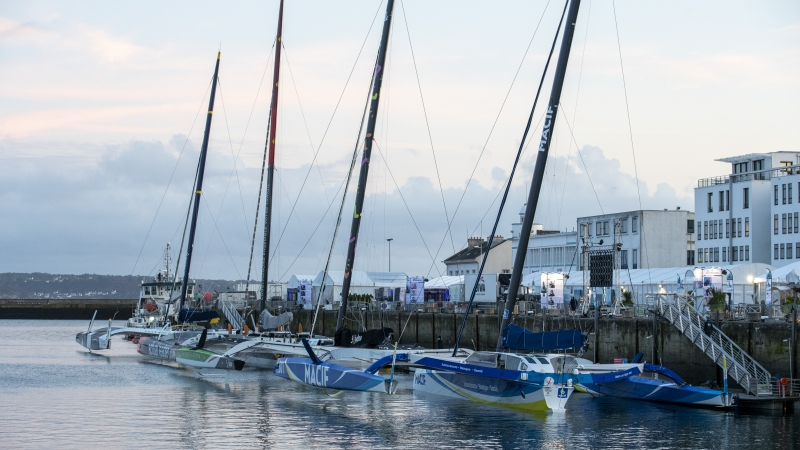 Ultim trimarans waiting for the start of the Brest Antlantiques.