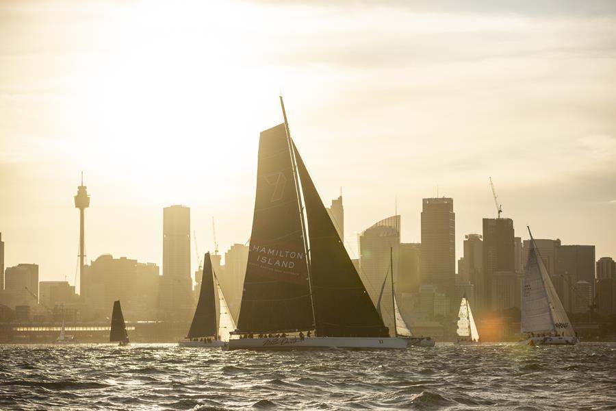 Wild Oats XI is the race record holder and will battle with two other super maxis in the Cabbage Tree Island Race. Credit - CYCA.