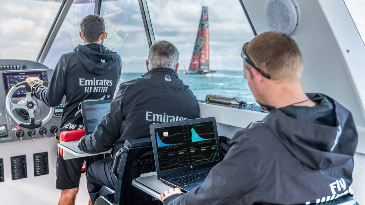 Team New Zealand's designers and engineers keep a close eye on the progress of their new AC75 during early testing in Auckland. Photo Emirates Team New Zealand.