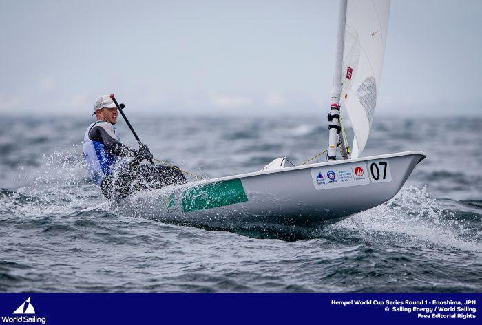 Tom Burton at World Cup Enoshima 2019. Photo Sailing Energy/World Sailing.