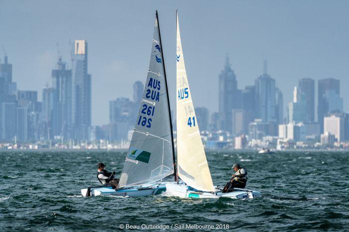 Finn sailors at Sail Melbourne. Photo Beau Outteridge.