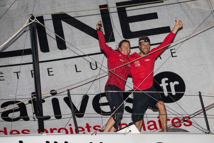 Paul Meilhat and Sam Davies celebrate seventh in the Transat.