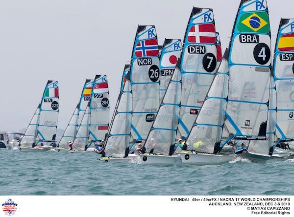 49erFX-fleet-lines-up-for-a-start---Sailing-Energy-pic
