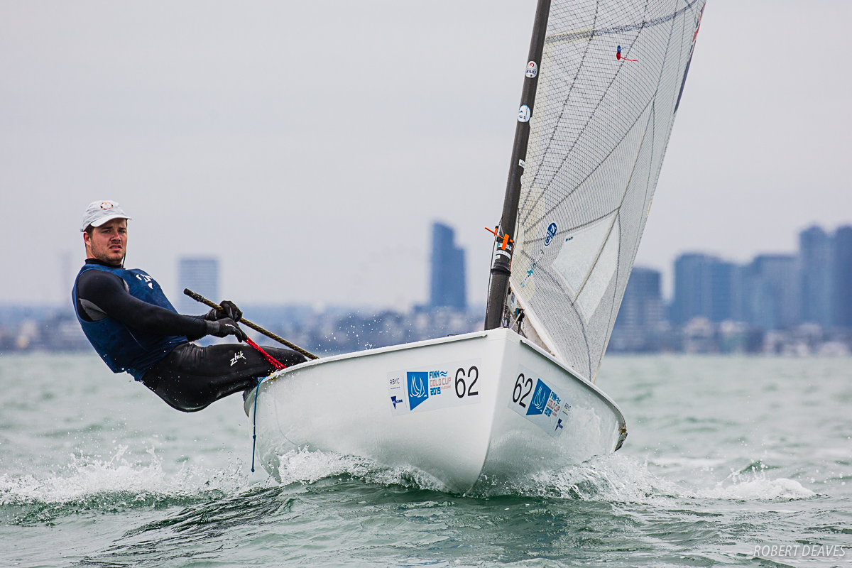 Markus Whitley at practice for the Finn Gold Cup. Photo Robert Deaves.