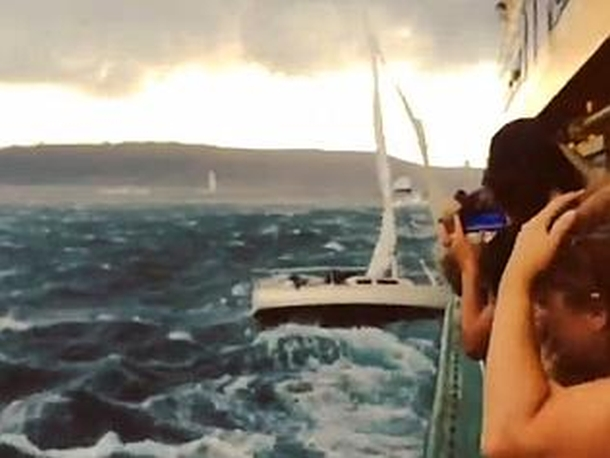 A screen capture from a video by Troy Muenzer of a sailboat hitting a ferry.