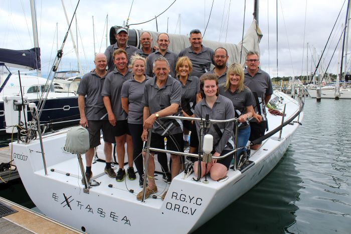 RGYC life member Paul Buchholz and Extasea crew ahead of the Rolex Sydney Hobart Yacht Race. Picture courtesy of Sarah Pettiford