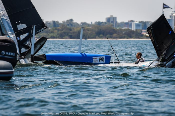 Challenging conditions on the final day of the Moth Worlds in Perth. Photo Martina Orsini.