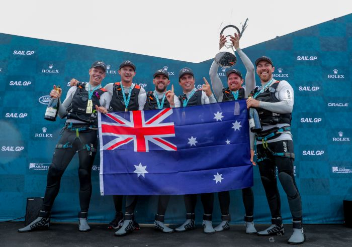 Team Australia celebrates its win in the inaugural SailGP season.