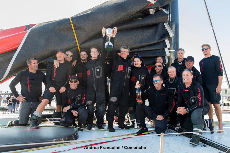 The victorious Comanche crew celebrates its Rolex Sydney Hobart success. Photo Andrea Francolini/Comanche.