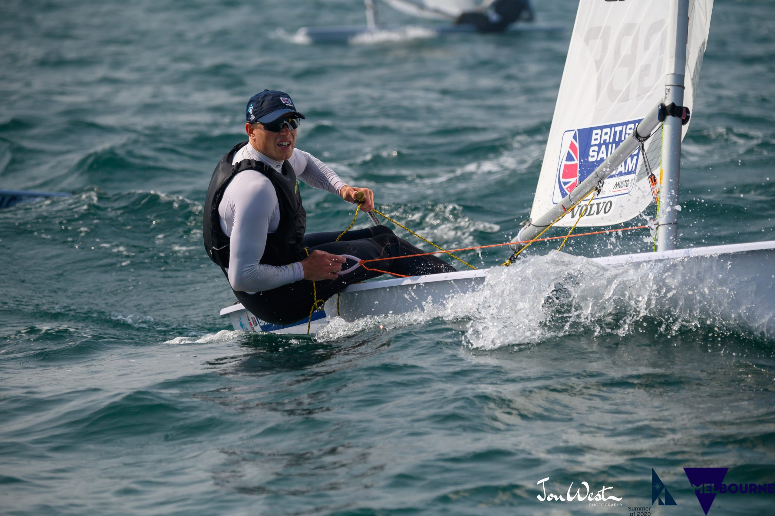 Nick Thompson (GBR) had a perfect opening day at the Australian Laser Championships. Photo Jon West Photography.