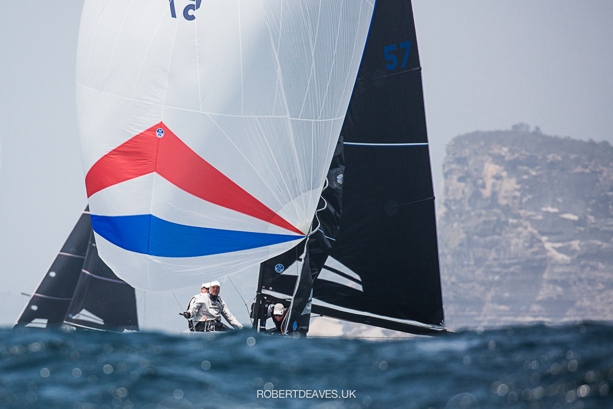 Artemis XIV seals victory in the 5.5 Metre Scandanavian Gold Cup on Pittwater. Photo Robert Deaves.